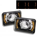 1985 Chevy C10 Pickup Amber LED Black Chrome Sealed Beam Projector Headlight Conversion