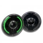 2005 Jeep Wrangler Green LED Black Sealed Beam Projector Headlight Conversion