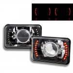 Eagle Talon 1990-1991 Red LED Black Chrome Sealed Beam Projector Headlight Conversion