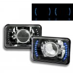 1985 Cadillac Cimarron Blue LED Black Chrome Sealed Beam Projector Headlight Conversion