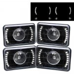 1976 Buick Riviera White LED Black Sealed Beam Projector Headlight Conversion Low and High Beams
