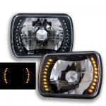 1996 Chevy 1500 Pickup Amber LED Black Chrome Sealed Beam Headlight Conversion