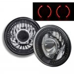 1973 Ford Bronco Red LED Black Chrome Sealed Beam Projector Headlight Conversion