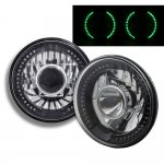 1973 Ford Bronco Green LED Black Chrome Sealed Beam Projector Headlight Conversion
