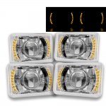 VW Jetta 1980-1984 Amber LED Sealed Beam Projector Headlight Conversion Low and High Beams