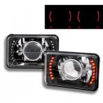 1991 Ford LTD Crown Victoria Red LED Black Chrome Sealed Beam Projector Headlight Conversion