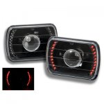 1982 Chevy C10 Pickup Red LED Black Sealed Beam Projector Headlight Conversion