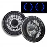 1974 Ford Bronco Blue LED Black Chrome Sealed Beam Projector Headlight Conversion