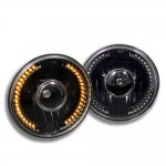 2002 Jeep Wrangler Amber LED Black Sealed Beam Projector Headlight Conversion