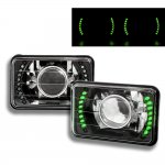 1988 Dodge Dakota Green LED Black Chrome Sealed Beam Projector Headlight Conversion