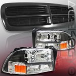1999 Dodge Durango Black Grille and Euro Headlights Set