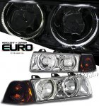 1996 BMW E36 Sedan 3 Series Clear Dual Halo Euro Headlights and Corner Lights Set