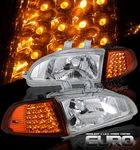 1993 Honda Civic Clear Euro Headlights and LED Corner Lights Set