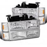 1997 Chevy 1500 Pickup Clear Euro Headlights and Bumper Lights Set