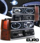 1999 Chevy 3500 Pickup Black Halo Projector Headlights and Bumper Lights Set