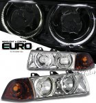 1998 BMW E36 Coupe 3 Series Clear Dual Halo Euro Headlights and Corner Lights Set