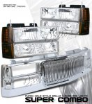 1999 Chevy 3500 Pickup Chrome Vertical Grille and Clear Euro Headlights Set