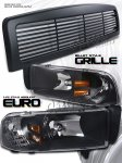 2000 Dodge Ram Black Billet Grille and Euro Headlights Set