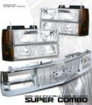 1997 GMC Yukon Chrome Grille and Clear Euro Headlights Set