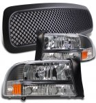 1999 Dodge Durango Black Mesh Grille and Euro Headlights Set