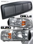 2000 Dodge Ram Black Billet Grille and Clear Euro Headlights Set
