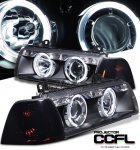 1996 BMW E36 Coupe 3 Series Black CCFL Halo Projector Headlights and Smoked Corner Lights Set