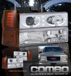 1999 Chevy 3500 Pickup Clear Halo Projector Headlights and Bumper Lights Set
