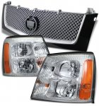 Cadillac Escalade 2002 Black Mesh Grille and Clear Euro Headlights Set
