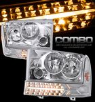 2002 Ford F250 Super Duty Clear Euro Headlights and Bumper Lights Set