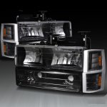 1999 Chevy Tahoe Black Euro Headlights and Bumper Lights Set