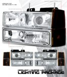 1997 Chevy 1500 Pickup Clear Projector Headlights and Bumper Lights Set