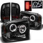 2007 Ford F350 Super Duty Black Halo Headlights and LED Tail Lights