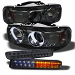 2003 GMC Sierra Smoked Projector Headlights and LED Bumper Lights