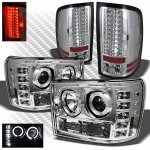 GMC Sierra 3500HD 2007-2014 Chrome Halo Projector Headlights and LED Tail Lights
