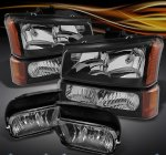 Chevy Silverado 2003-2006 Black Headlights Set and Smoked Fog Lights