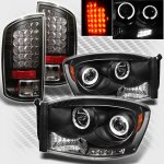2009 Dodge Ram 2500 Black Projector Headlights and LED Tail Lights