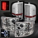 Chevy Silverado 3500HD 2007-2013 Chrome Projector Headlights and Tail Lights