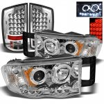 2002 Dodge Ram Chrome Projector Headlights and LED Tail Lights