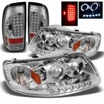 1999 Ford F150 Chrome Projector Headlights and LED Tail Lights
