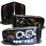 2002 Dodge Ram Smoked Halo Projector Headlights and Tail Lights