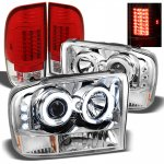 2001 Ford F250 Super Duty Chrome CCFL Halo Headlights and Red Clear LED Tail Lights