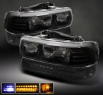 2002 Chevy Suburban Black Headlights and Smoked LED Bumper Lights