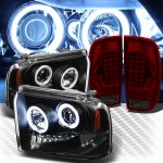 2007 Ford F350 Super Duty Black CCFL Halo Headlights and Red Smoked LED Tail Lights