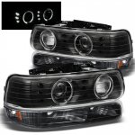 2001 Chevy Silverado Black Halo Projector Headlights and Bumper Lights
