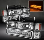 GMC Sierra 2500 1994-2000 Clear Euro Headlights and LED Bumper Lights