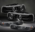 Chevy Silverado 1999-2002 Black Projector Headlights and Bumper Lights