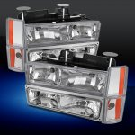 Chevy Suburban 1988-1993 Clear Euro Headlights and Bumper Lights