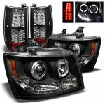 Chevy Suburban 2007-2014 Black Halo Projector Headlights and LED Tail Lights