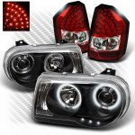 Chrysler 300C 2008-2010 Black CCFL Halo Headlights and Red Clear LED Tail Lights