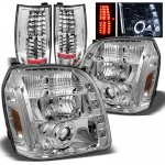 GMC Yukon XL 2007-2014 Chrome Halo Projector Headlights and LED Tail Lights